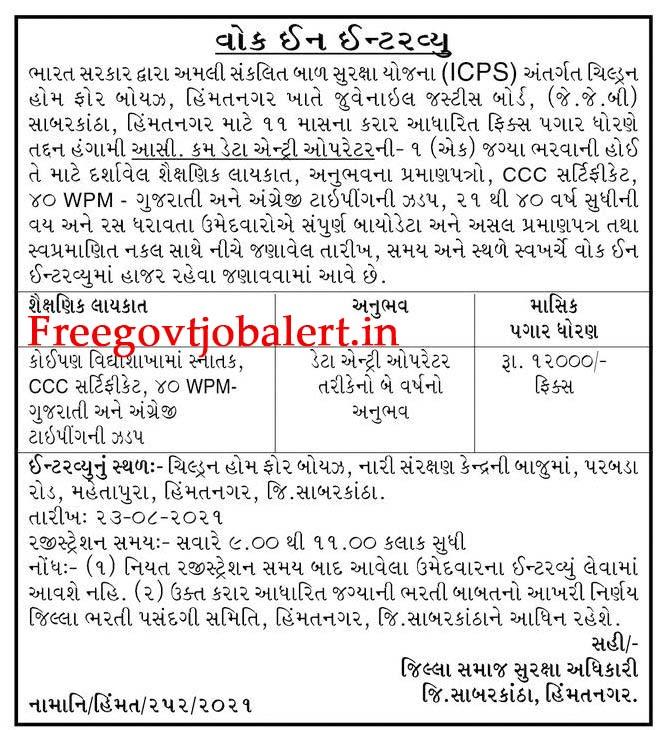 ICPS Himatnagar Recruitment 2021 - 1 Data Entry Operator Posts