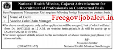 National Health Mission NHM Gandhinagar Recruitment 2021-Vaccine Cold Chain Manager Post