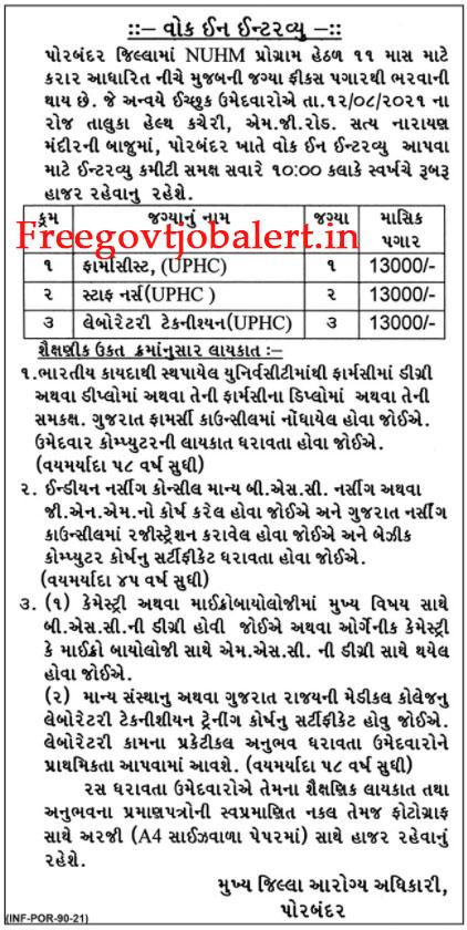 NUHM Porbandar Recruitment 2021 - 6 Staff Nurse & Other Posts