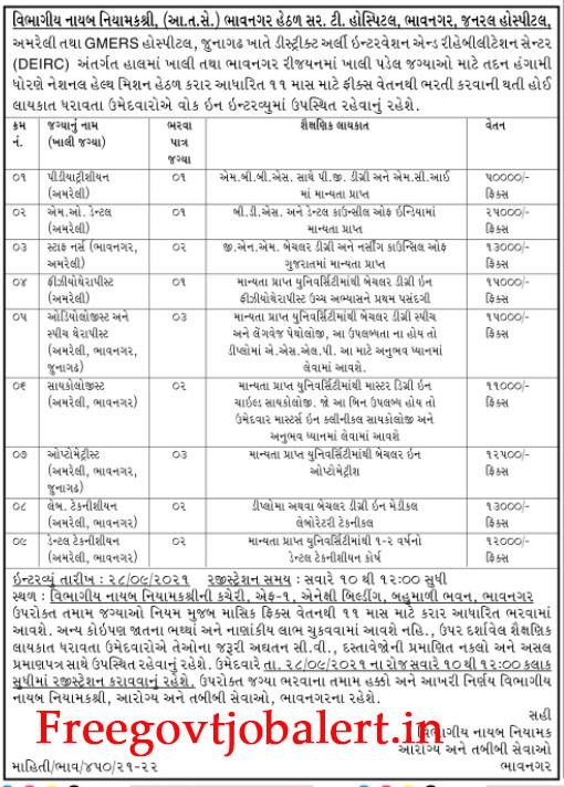 NHM Bhavnagar Recruitment 2021 - 17 Staff Nurse and Other Post