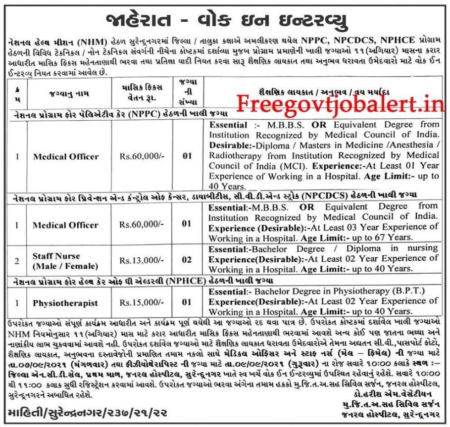 NHM Surendranagar Recruitment 2021 - 5 Medical Officer, Staff Nurse & Other Posts