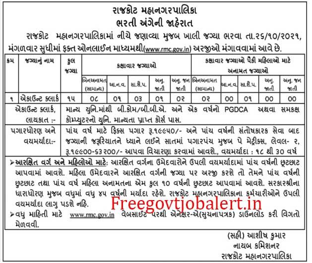RMC Account Clerk Recruitment 2021 - Rajkot 15 Clerk Jobs