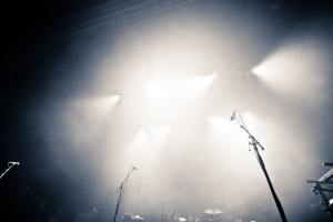 Empty illuminated stage