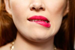 Facial Expressions Of Young Redhead Woman Closeup