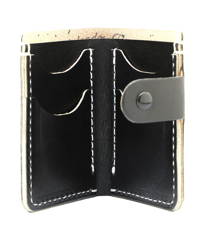 Black Primrose Snap Leather Wallet