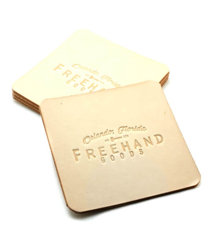 Natural Leather Coasters Set of 4