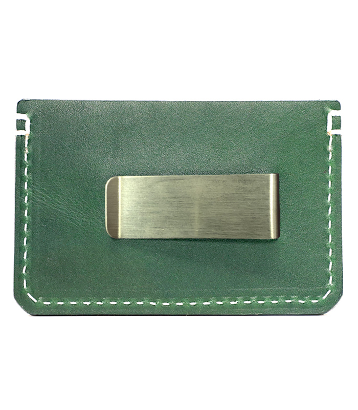 Emerald Colonial Leather Money Clip