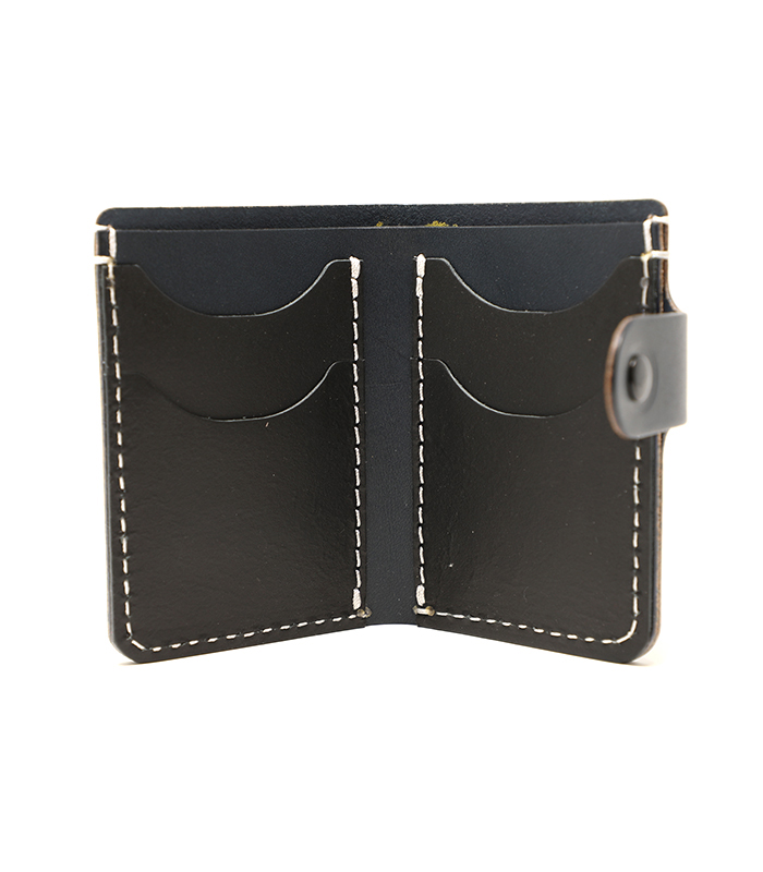 Navy Primrose Snap Leather Wallet