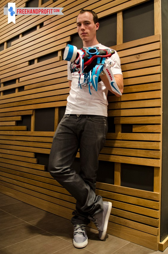 DJ SKEE modeled the KD IV mask at Tradition in Beverly Hills.