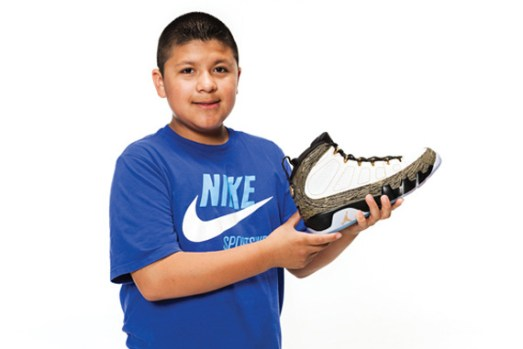 This particular Jordan IX release was designed by Oswaldo Jimenez, an 11-year-old who was diagnosed with severe pulmonary hypertension in 2011.