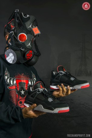 The 58th sneaker gas mask by Freehand Profit. Commissioned & Wardrobe by Original Rufnek Clothing.