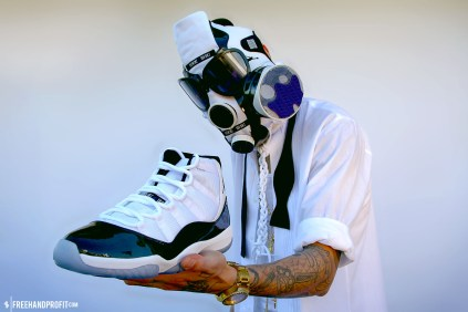 "The 18th sneaker mask created by Freehand Profit. Made from 1 pair of Air Jordan 11 (XI) ""Concords"". Find out more about the work on FREEHANDPROFIT.com."