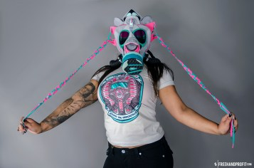 """The 29th sneaker mask created by Freehand Profit. Made from 1 pair of """"Miami Vice"""" Nike LeBron 9 Elites. Find out more about the work on FREEHANDPROFIT.com."""