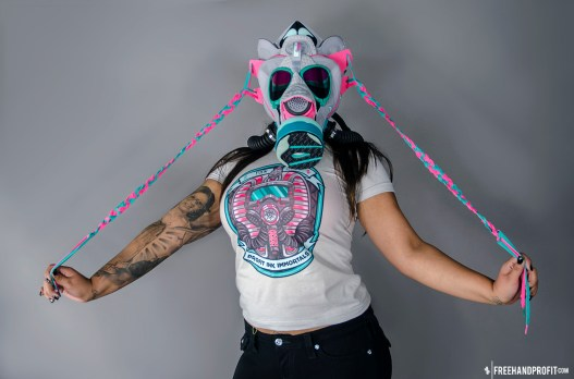 "The 29th sneaker mask created by Freehand Profit. Made from 1 pair of ""Miami Vice"" Nike LeBron 9 Elites. Find out more about the work on FREEHANDPROFIT.com."