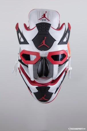 """The 45th sneaker mask created by Freehand Profit. Made from 1 pair of 2012 Retro Air Jordan IV (4)s """"Fire Red"""". Find out more about the work on FREEHANDPROFIT.com."""