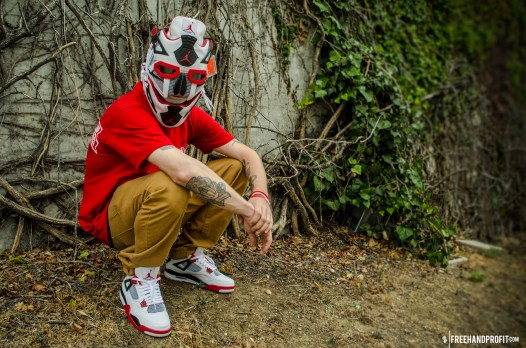 "The 45th sneaker mask created by Freehand Profit. Made from 1 pair of 2012 Retro Air Jordan IV (4)s ""Fire Red"". Find out more about the work on FREEHANDPROFIT.com."
