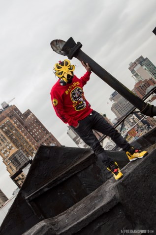 """The 81st sneaker mask created by Freehand Profit. Made from 1 pairs of Lebron 9 Elite """"Taxi"""". Find out more about the work on FREEHANDPROFIT.com."""