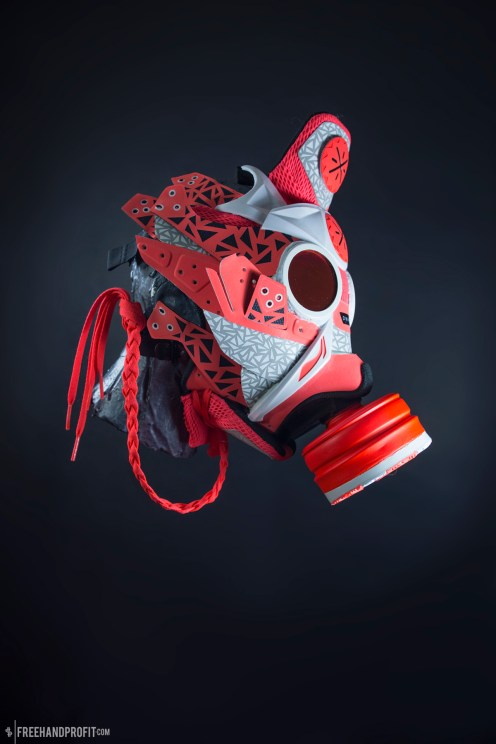 The 107th sneaker mask created by Freehand Profit. Made from 1 pair of Li-Ning Way of Wade 4s. Find out more about the work on FREEHANDPROFIT.com.