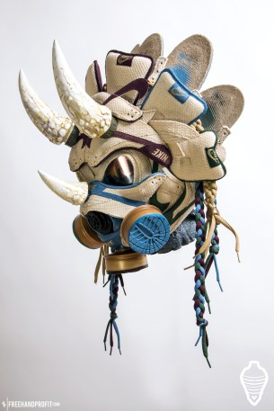 The 114th sneaker mask created by Freehand Profit. Made from 3 pairs of Nike SB Dunks from 2003/04, this mask is also a functioning smoke piece. Find out more about the work on FREEHANDPROFIT.com.