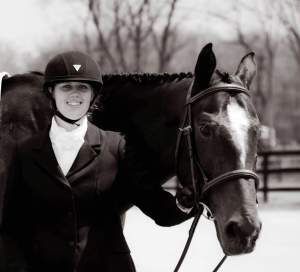 Stephanie and Zephyr at their first combined test where they took first place on their dressage score.