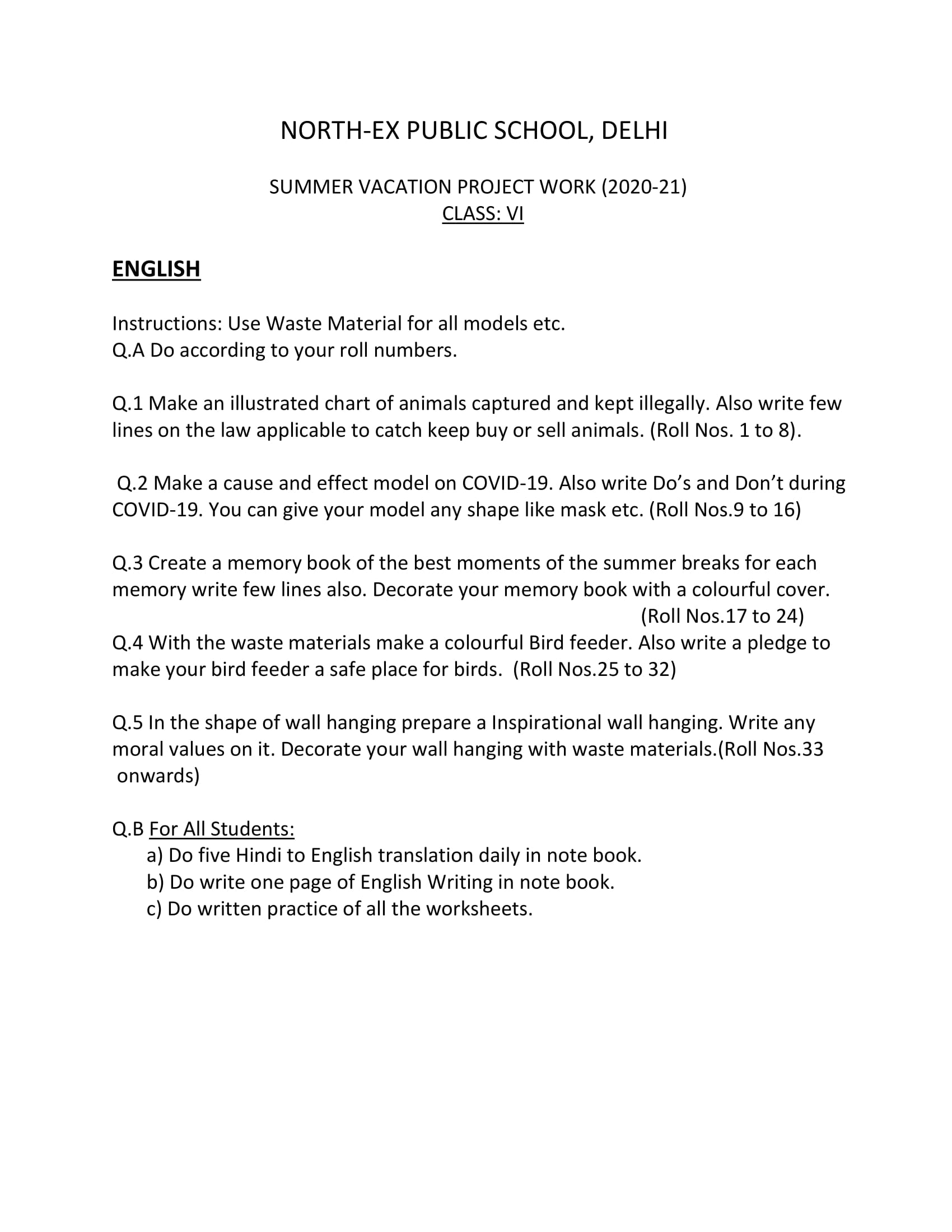 hight resolution of Summer Vacation Holiday Homework for Class 6