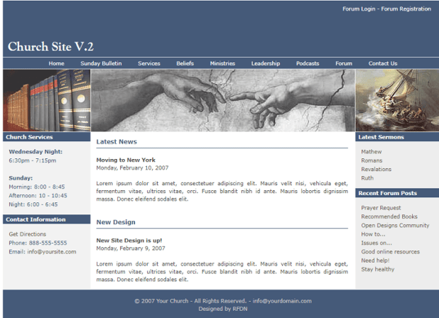 Church Site V.2 Free CSS Template
