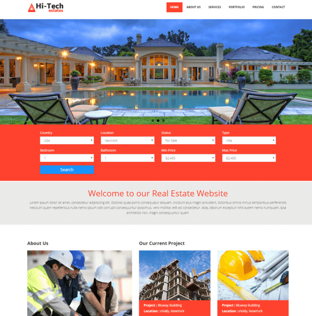Hi-Tech Real Estate Free Bootstrap Website Template
