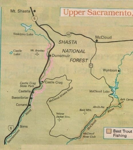 Fishing Report Map Upper Sacramento River Best areas