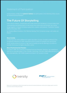 Statement of Participation Certificate from Iversity