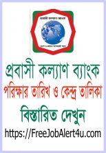 প্রবাসী কল্যাণ ব্যাংকের রেজাল্ট, পরীক্ষার তারিখ ও কেন্দ্র তালিকা