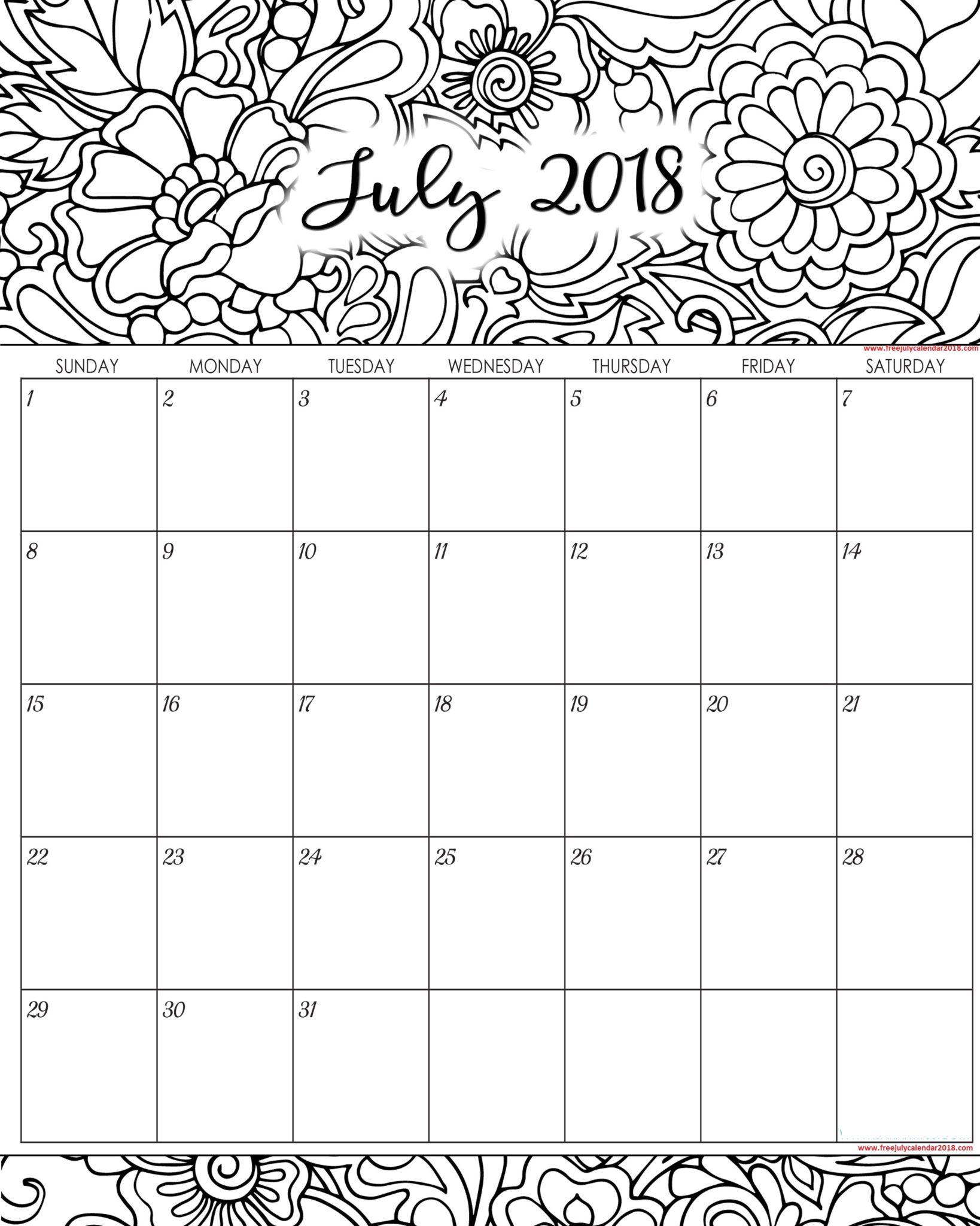 60 Free July Calendar Printable Blank Templates