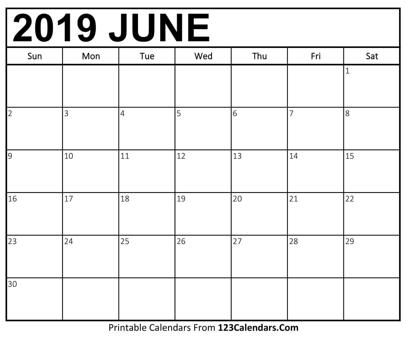 decorative june 2019 calendar