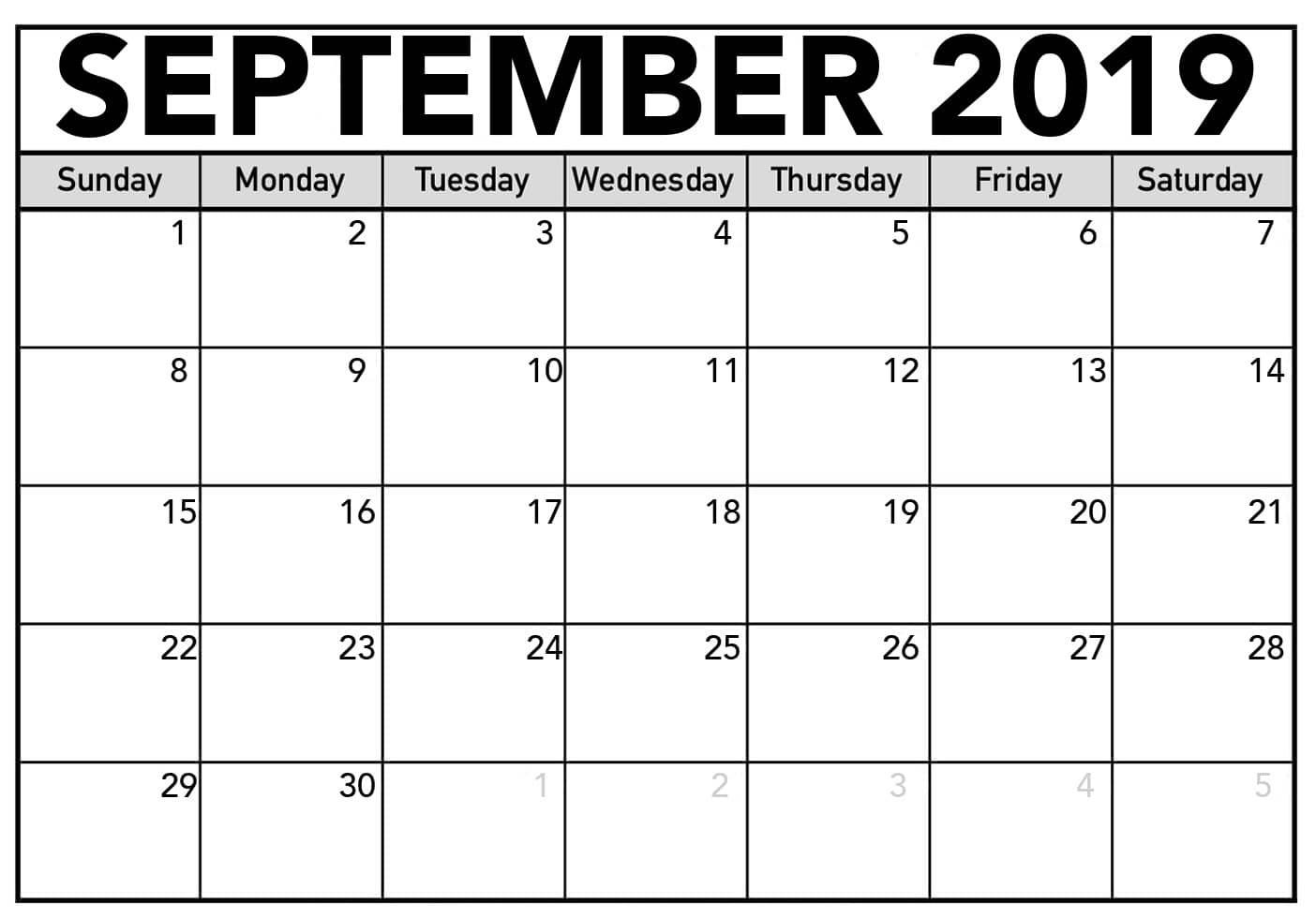Free September Calendar Printable Blank Templates