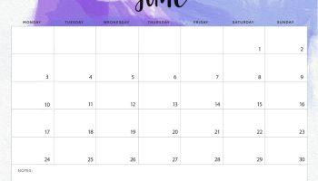 Decorative June 2019 Calendar PDF Page Excel Word Floral