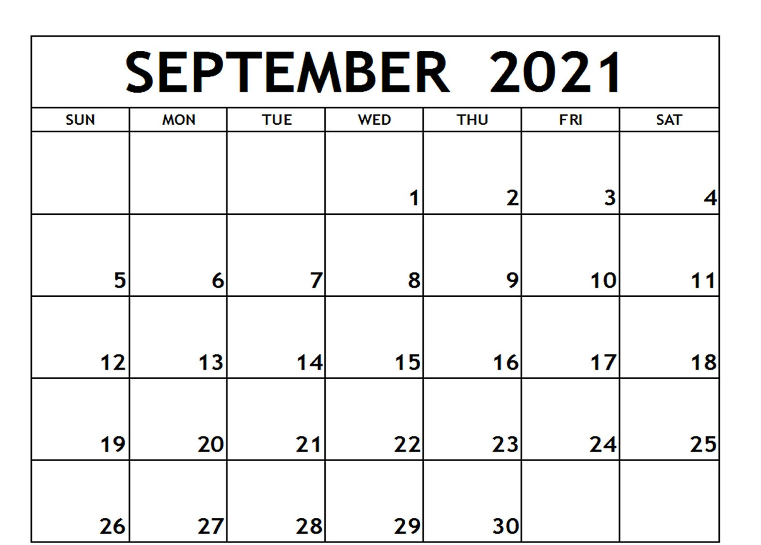 Fillable Calendar for September 2021 Printable Blank Template with Notes