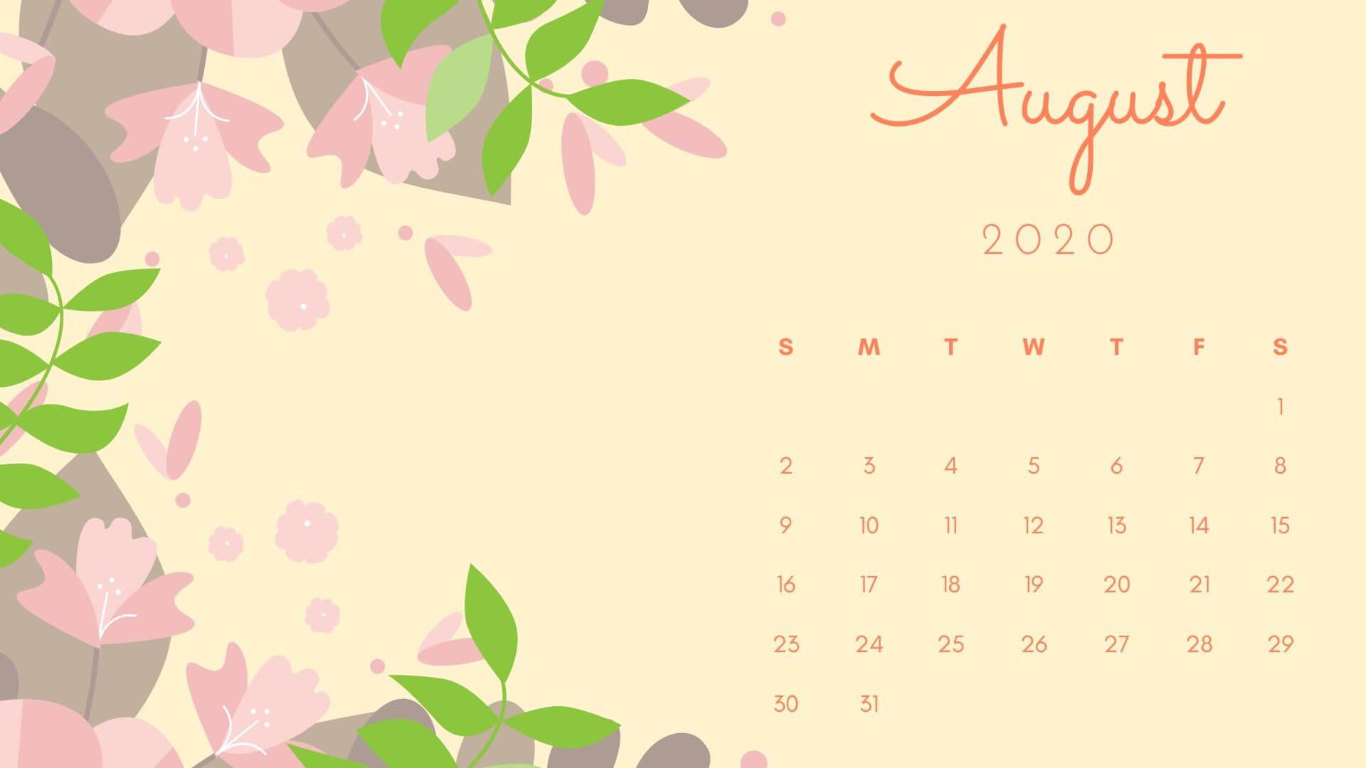 August 2021 Desktop Calendar Wallpaper