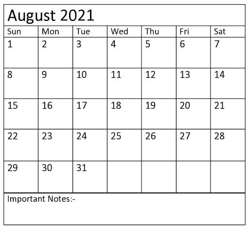 Editable August 2021 Calendar Template – PDF, Word, Excel