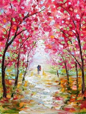 painting easy landscape simple spring paintings oil canvas acrylic radiance palette knife watercolor drawing freejupiter karensfineart tarlton karen paint tree