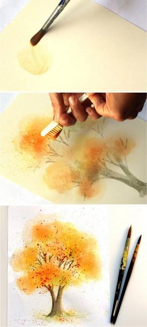 watercolor painting simple spray