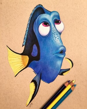 pencil drawings simple cartoon creative disney dory drawing cool characters finding funny colorful nemo excellent julianna maston artwork illustration colored