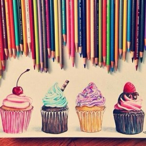 pencil drawings drawing creative simple cupcake colored pencils amazing coloured cupcakes paper colourful sketches draw sketch colours painting freejupiter strawberry