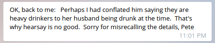 Ian's statement to Pete about soberness