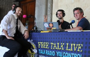 Adam Kokesh joins from the Free Talk Live broadcast table at Anarchapulco 2018.