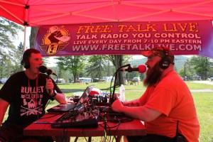 Darryl W Perry interviews Porcfest head organizer Rodger Paxton in the LRN.FM Tent at Forkfest 2018
