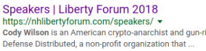 Cody's still caught in Google's cache of the FSP's Liberty Forum site.