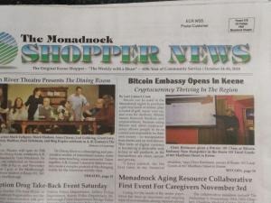 Monadnock Shopper News' Front Page Article About Bitcoin Embassy NH