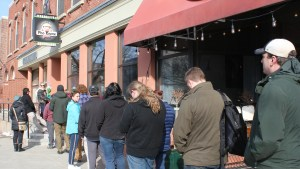 The line outside prior to PKG's opening.