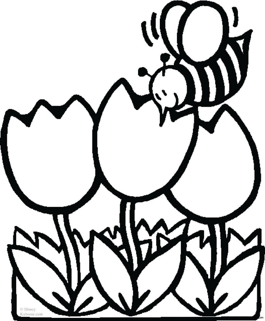 bee with flowers coloring sheet for kidsFree Printable