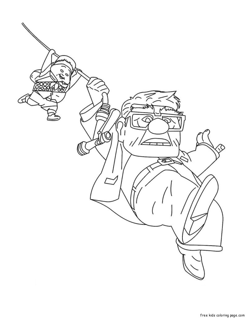 Disney up Carl Fredricksen Russell coloring pages for