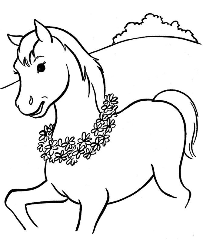 Animal Beautiful horses Colt walking coloring pageFree